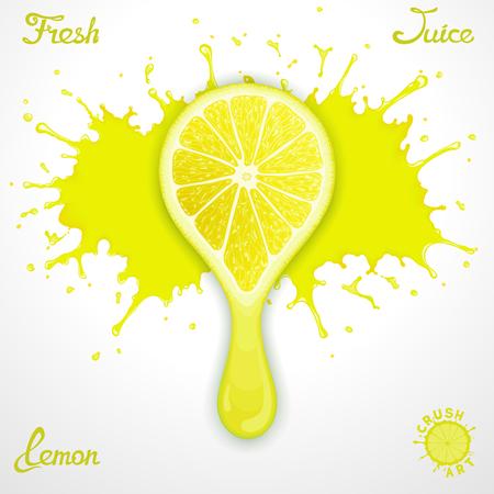 Salpicaduras Vector jugo de limón con una rodaja de aplastamiento estilizada