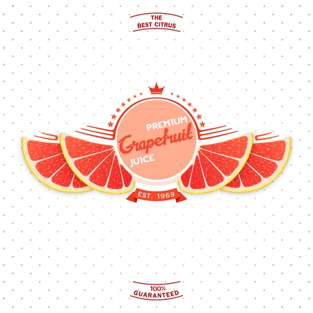 grapefruit juice: Creative label and emblem for products with stylized grapefruit slice shaped like a wings.  Premium quality citrus juice