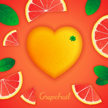 grapefruit: Photorealistic surround grapefruit in the form of heart with slices around. Fruity creative design