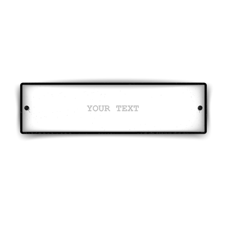 Just car license plate with screws on the sides. White isolated element design
