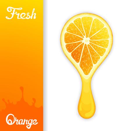 workpiece: Stylized half orange from which squeezed fresh juice. Juicy design elements