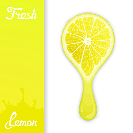 Stylized half lemon from which squeezed fresh juice. Juicy design elements