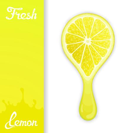 workpiece: Stylized half lemon from which squeezed fresh juice. Juicy design elements