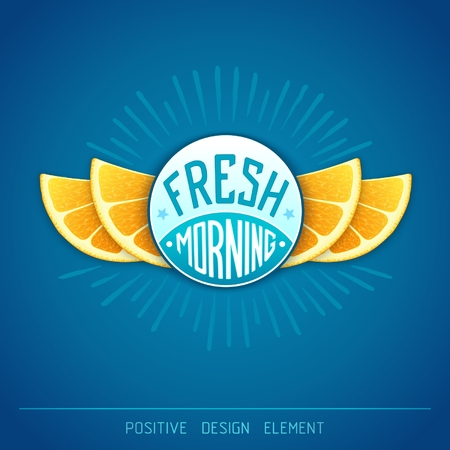 workpiece: Fresh morning - creative art illustration. Unique fun emblem with stylized orange slice shaped like a wings