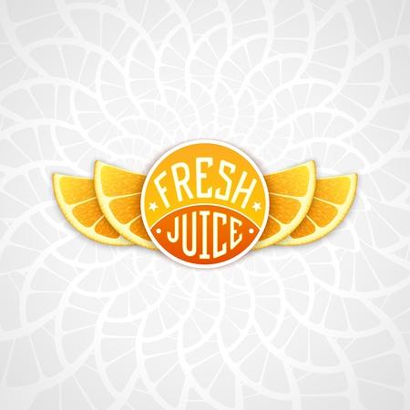 workpiece: Fresh orange juice - creative art illustration. Unique fun emblem with stylized orange slice shaped like a wings Illustration