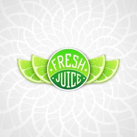 lime juice: Fresh lime juice - creative art illustration. Unique fun emblem with stylized orange slice shaped like a wings