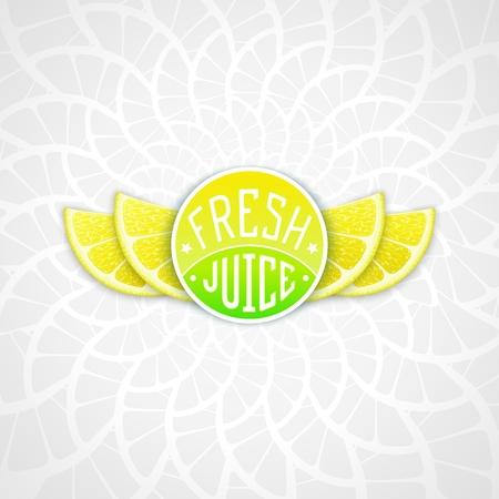workpiece: Fresh lemon juice - creative art illustration. Unique fun emblem with stylized orange slice shaped like a wings
