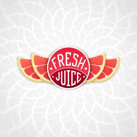 grapefruit juice: Fresh grapefruit juice - creative art illustration. Unique fun emblem with stylized orange slice shaped like a wings