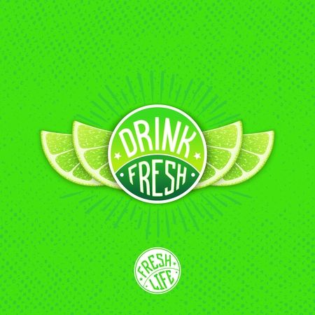 lime juice: Drink fresh lime juice - creative design.