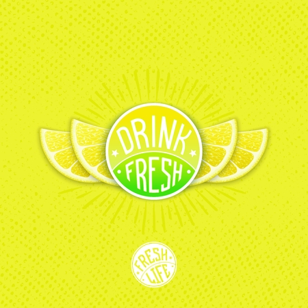 fresh juice: Drink fresh lemon juice - creative design. Vector emblem with stylized grapefruit slice shaped like a wings