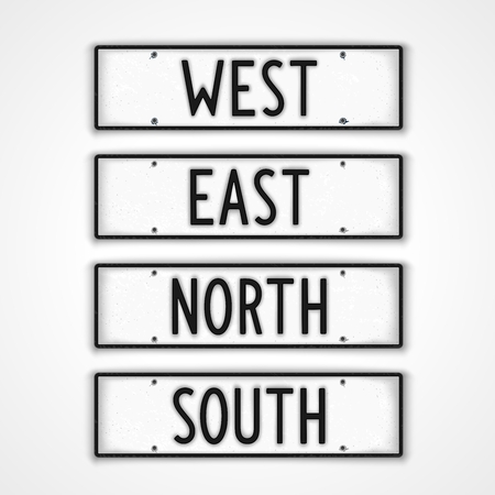 car plate: Set of stylized signboards signpost directions in style car license plate. West, East, South, North.