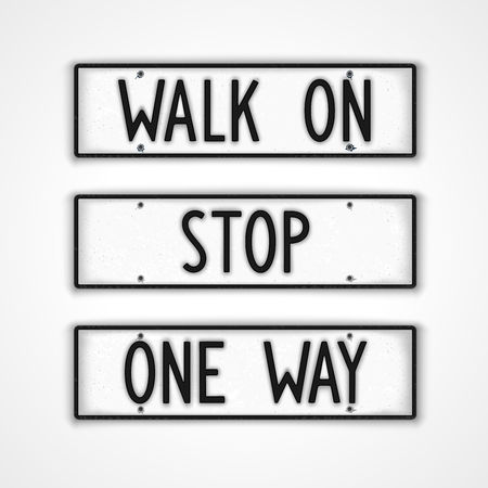 Set of stylized signboards with actions in style car license plate. Walk on, stop, one way