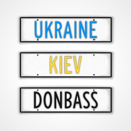 genocide: Set of stylized signboards in style car license plate. Ukraine, Kiev, Donbass