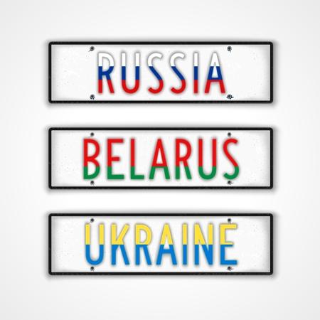 letreros: Conjunto de letreros para los tres pa�ses Rusia, Bielorrusia y Ucrania en el estilo de la placa del carnet de conducir Vectores