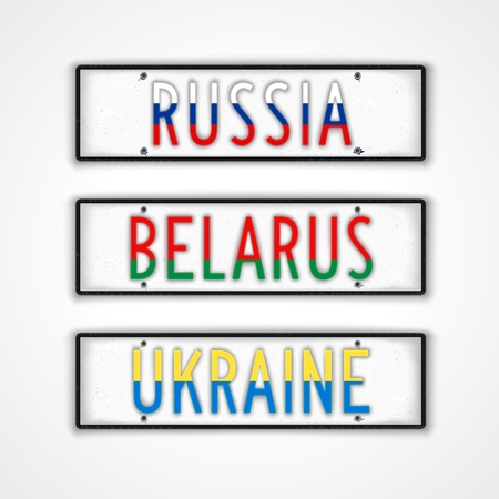 car plate: Set of signboards for the three countries Russia, Belarus and Ukraine in style car license plate