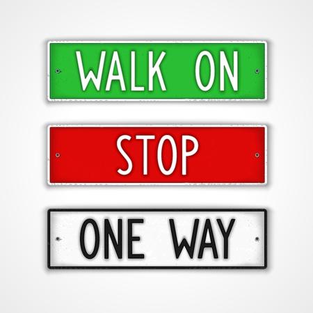 letreros: Conjunto de letreros estilizadas con acciones en el estilo de la placa del carnet de conducir. Walk on, detener, de una manera