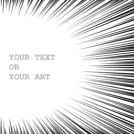 Monochrome graphic explosion with speed lines from left to right. Comic book design element