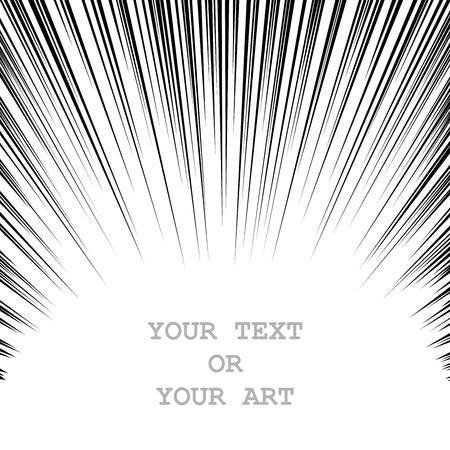 바닥에서 위로 속도 라인 흑백 그래픽 폭발. 만화 디자인 요소 일러스트