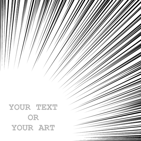 Monochrome graphic explosion with speed lines from the bottom up. Comic book design element