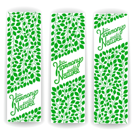 harmony nature: Three vector banner of branches with green leaves and calligraphy lettering - In harmony with nature. EPS 8