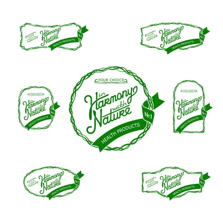 harmony nature: Set original labels and badges on the theme of nature and health products. In Harmony With Nature.  Seven vector stickers EPS 8