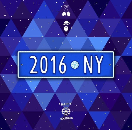 car plate: Creative Happy New Year label with date - 2016. Unusual Christmas design in the style of car license plate