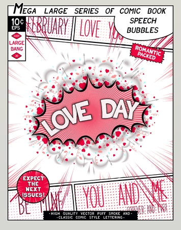love  cloud: Love day. Fun explosion in comic style with lettering, hearts, lips, arrows and realistic puffs smoke.  3D pop art speech bubble