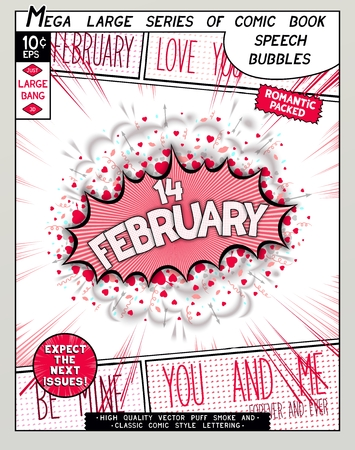 cartoon lips: February 14. Fun explosion in comic style with lettering, hearts, lips, arrows and realistic puffs smoke.  3D pop art speech bubble