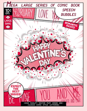 red lips: Happy Valentines day. Fun explosion in comic style with lettering, hearts, lips, arrows and realistic puffs smoke.  3D pop art speech bubble