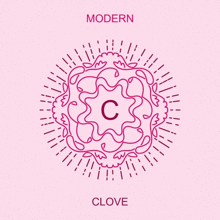 clove: Modern minimalistic picture a clove. Stylized sign design for , sign boards, frames, packaging and other  decoration. Trendy art deco elegant element. Vector mono line style illustration