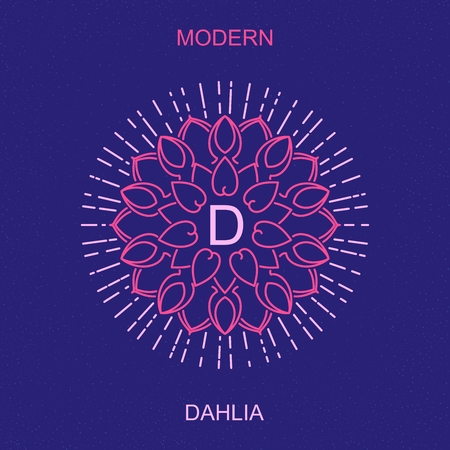 dahlia: Modern minimalistic picture a dahlia. Stylized sign design for , sign boards, frames, packaging and other  decoration. Trendy art deco elegant element. Vector mono line style illustration Illustration
