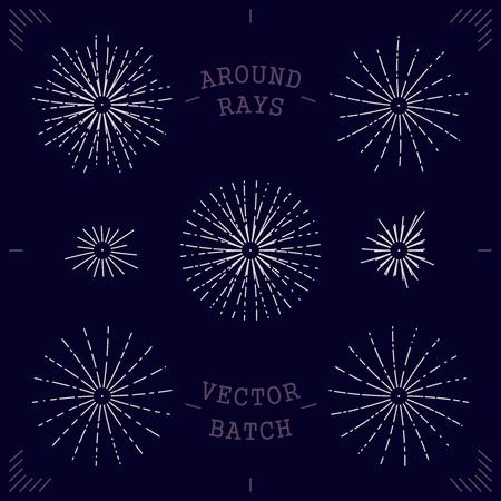 mono: Set stylized bundle around rays. Trendy mono line illustration. Modern minimalistic vector design elements Illustration