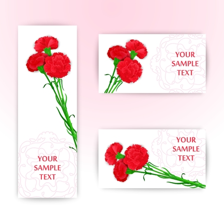 floret: Elegant template with bouquet of three red carnations. Vector illustration.  Stylized design for sign boards, banner and other decoration Illustration