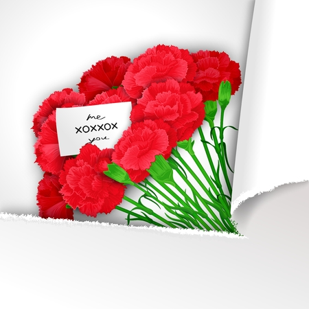 carnations: Bunch of flowers Carnations in stylized paper with a message. Ready template for poster, web, print, greeting  card and advertisement.