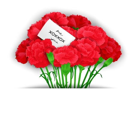 free me: Bunch of flowers Carnations in stylized paper with a message. Ready template for poster, web, print, greeting  card and advertisement.