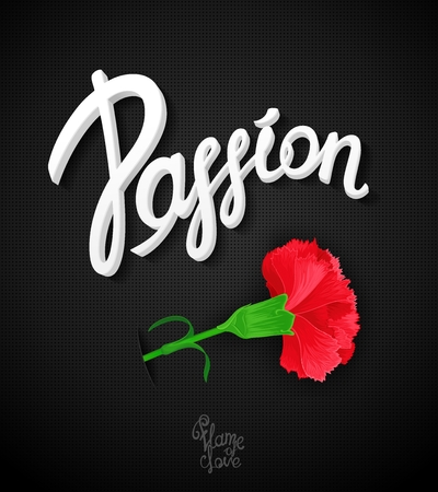 ardor: Carnation flower - a symbol of love and passion. Bright, passionate, expression placard with vector calligraphy.
