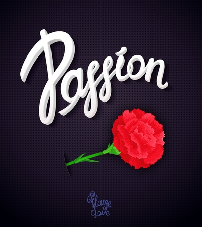 beguin: Passion. Poster design with Carnation flower - a symbol of love and desire. Ready for design poster, web,  print, greeting card and advertisement.