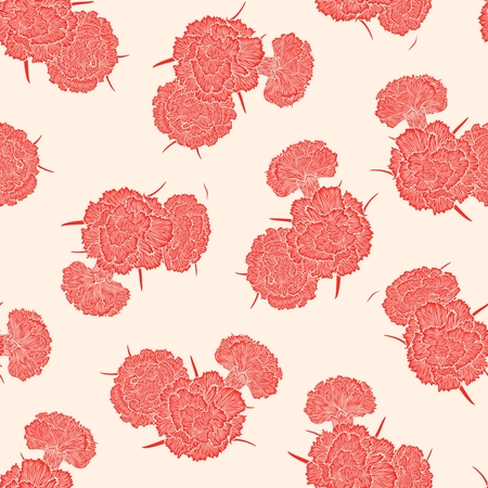 cloves: Seamless pattern of pink buds cloves on a white background. Detailed graphics flowers silhouettes Illustration