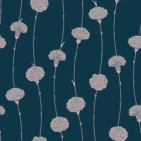 carnations: Seamless pattern of flowers carnations with a direction from the bottom up.  Detailed graphics flowers silhouettes. White on dark-blue background