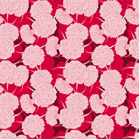 carnations: Seamless pattern of many flowers carnations. Detailed graphics flowers silhouettes.