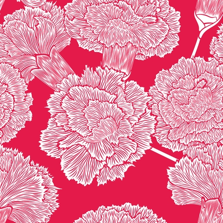 carnations: Large detailed painted silhouettes of flowers carnations randomly scattered on pink background.  Seamless pattern.