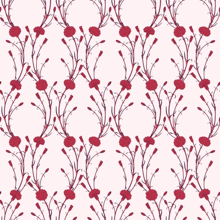 cloves: Seamless pattern of cloves. Two-colored bouquets of flowers with rounded wavy stems.  Detailed graphics flowers silhouettes.