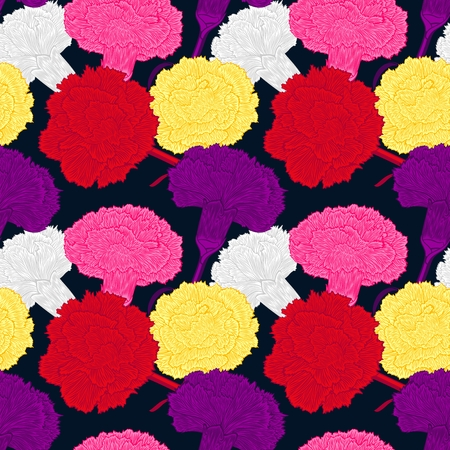 randomly: Seamless pattern of cloves. Large bright buds carnations. Randomly scattered flowers on a dark background.