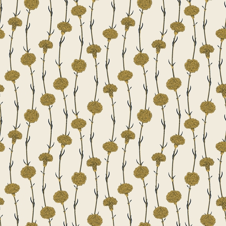 simple: Seamless pattern. Simple carnation flowers along the smooth wavy stems.