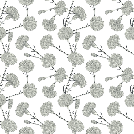 randomly: Seamless pattern of cloves. Detailed linear flowers hand drawing. Randomly scattered flowers on a white  background.