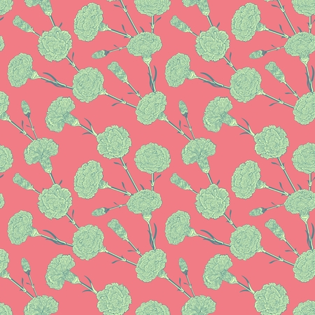 randomly: Seamless pattern of cloves. Graphic pictures of bouquets carnations in a stylized colors.  Randomly scattered flowers Illustration