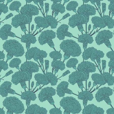 randomly: Seamless pattern of cloves. Graphic pictures of bouquets carnations in the heavenly fresh colors.  Randomly scattered flowers