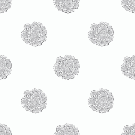 monocrome: Just simple seamless pattern of bloom carnation. Monocrome scetch hand drawing.