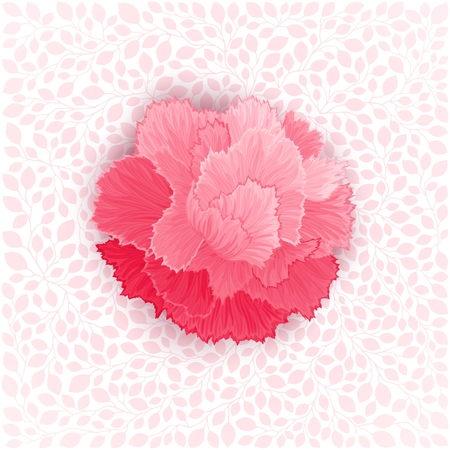 burgeon: Pink burgeon blossom of carnation on leaves texture. Vector design element