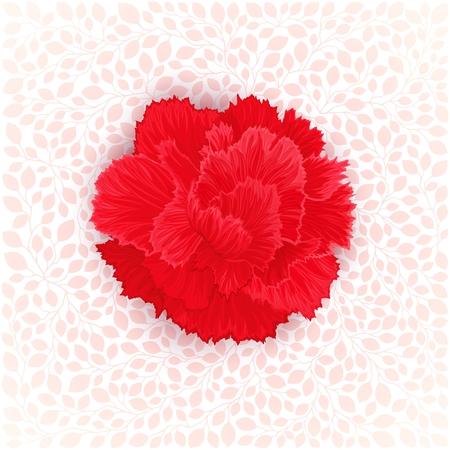 burgeon: Red burgeon blossom of carnation on leaves texture. Vector design element Illustration